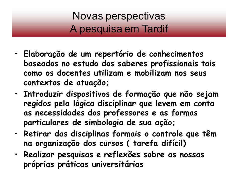 Novas perspectivas A pesquisa em Tardif