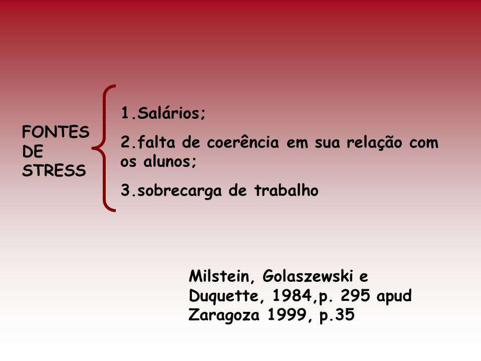 1.Salários; 2.falta de coerência em sua relação com os alunos; 3.sobrecarga de trabalho. FONTES DE STRESS.