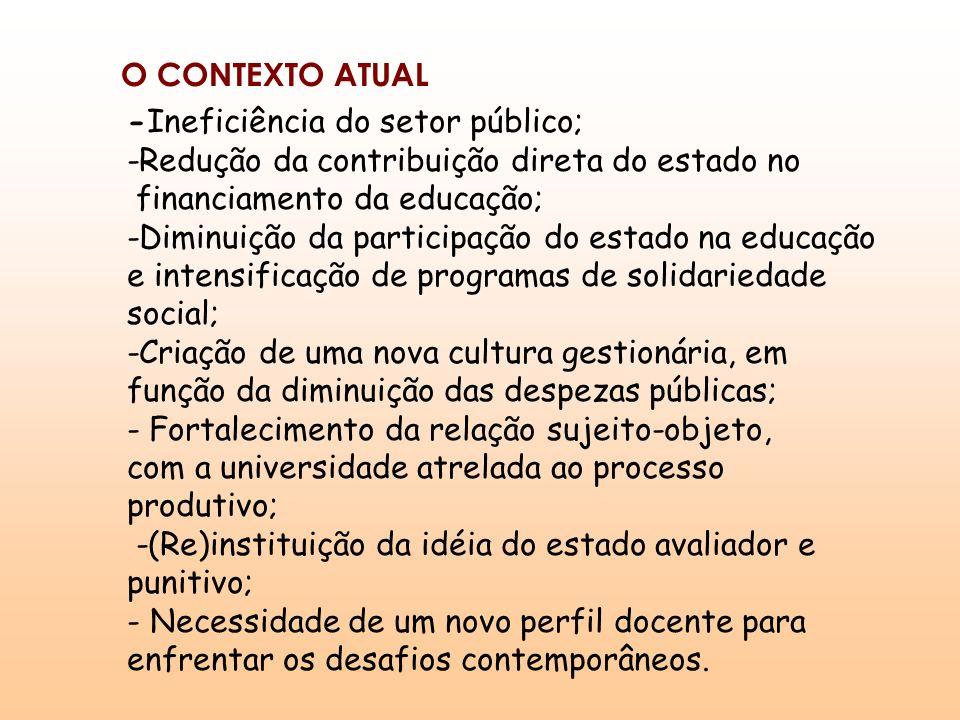 O CONTEXTO ATUAL -Ineficiência do setor público; -Redução da contribuição direta do estado no. financiamento da educação;