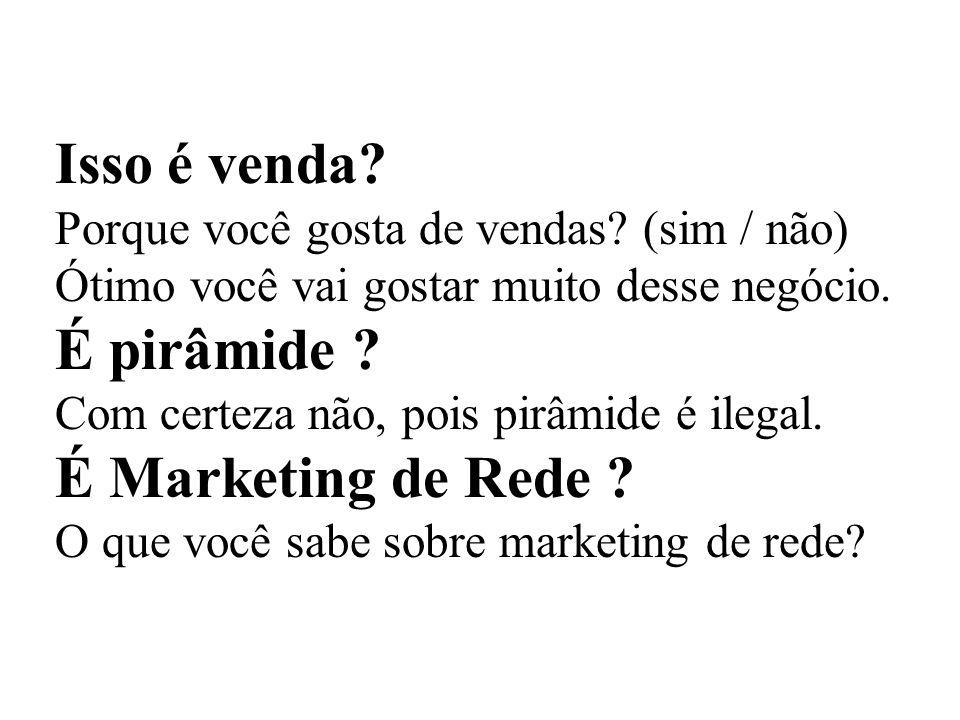 Isso é venda É pirâmide É Marketing de Rede