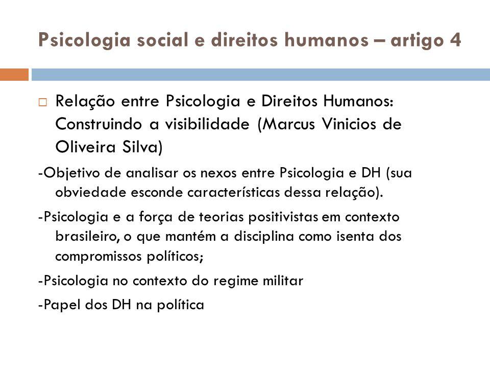 Psicologia social e direitos humanos – artigo 4