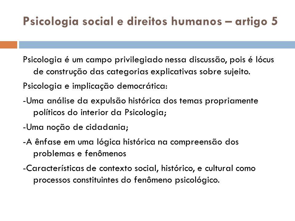 Psicologia social e direitos humanos – artigo 5