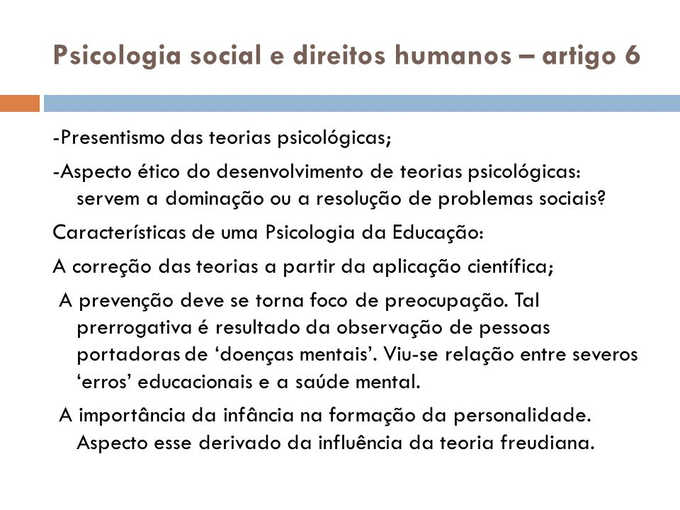 Psicologia social e direitos humanos – artigo 6