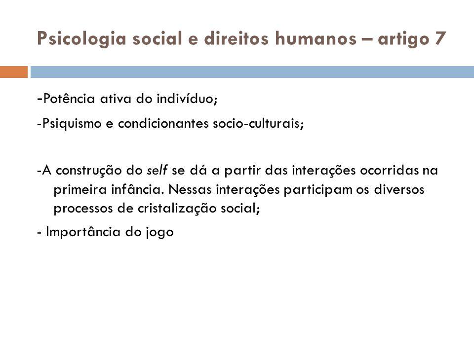 Psicologia social e direitos humanos – artigo 7