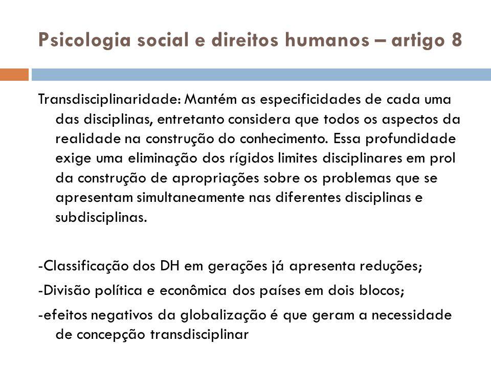 Psicologia social e direitos humanos – artigo 8
