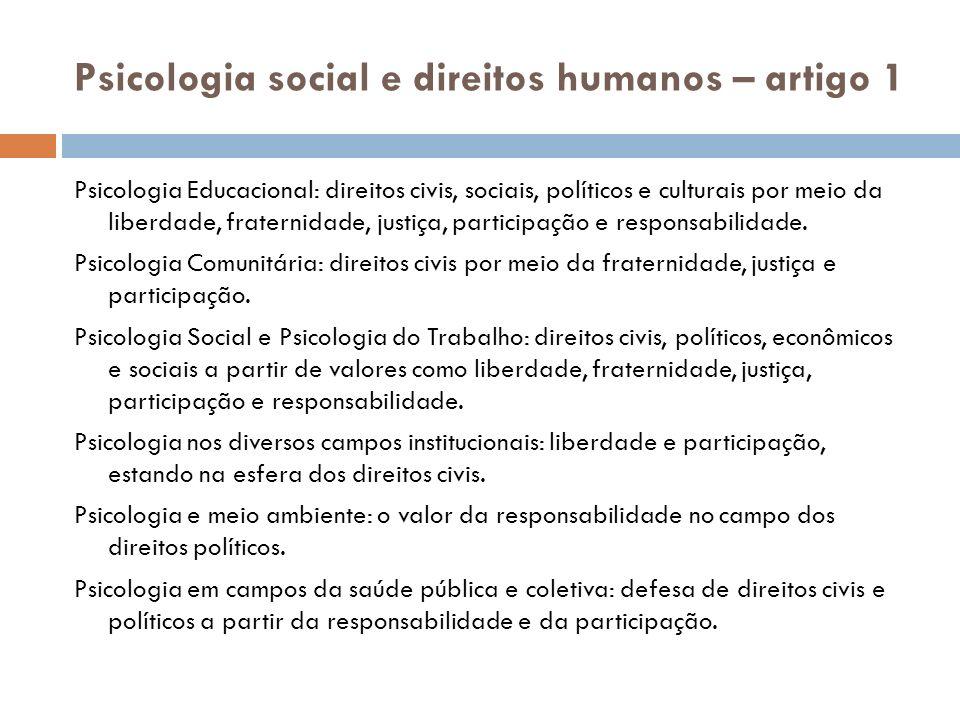 Psicologia social e direitos humanos – artigo 1