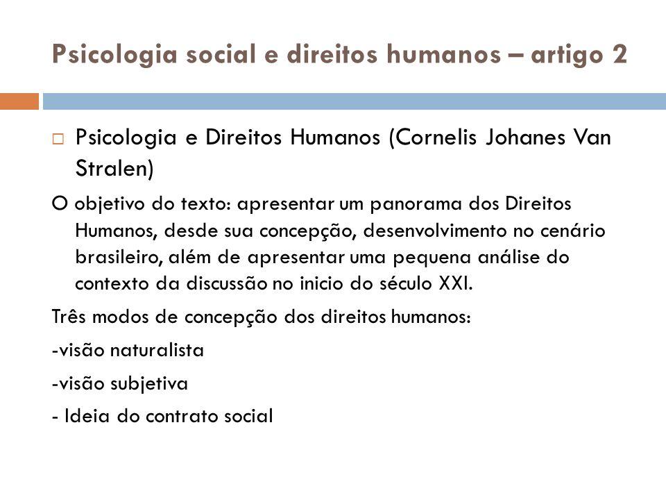Psicologia social e direitos humanos – artigo 2