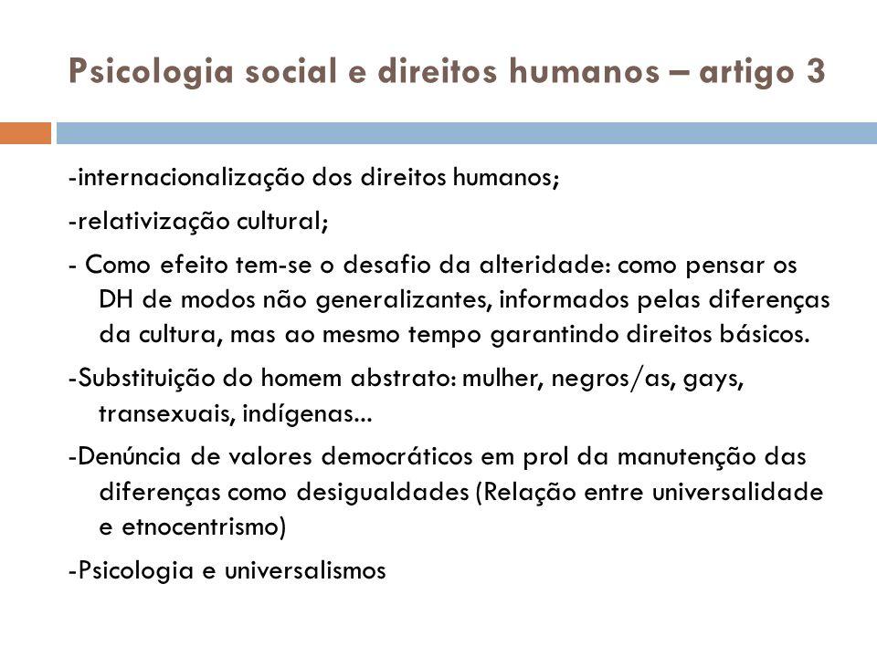 Psicologia social e direitos humanos – artigo 3
