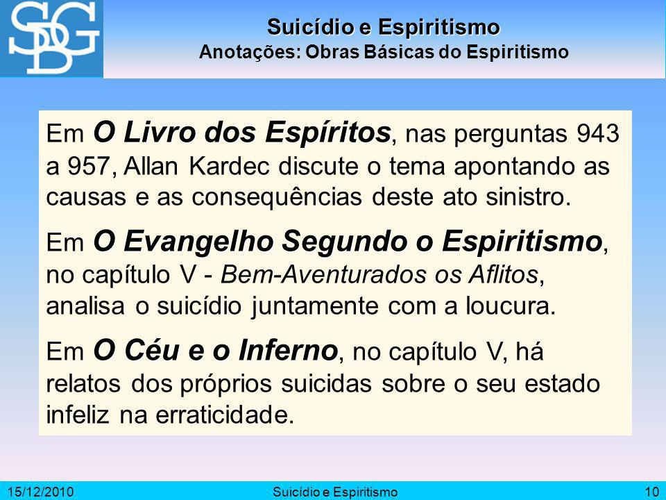 Suicídio e Espiritismo Anotações: Obras Básicas do Espiritismo