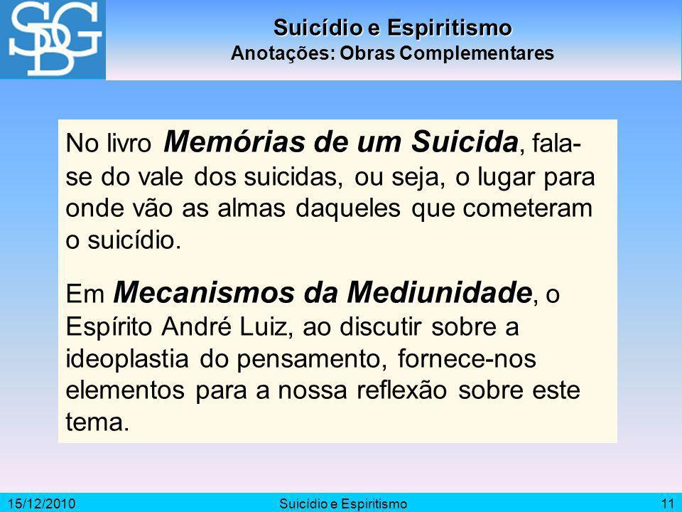 Suicídio e Espiritismo Anotações: Obras Complementares