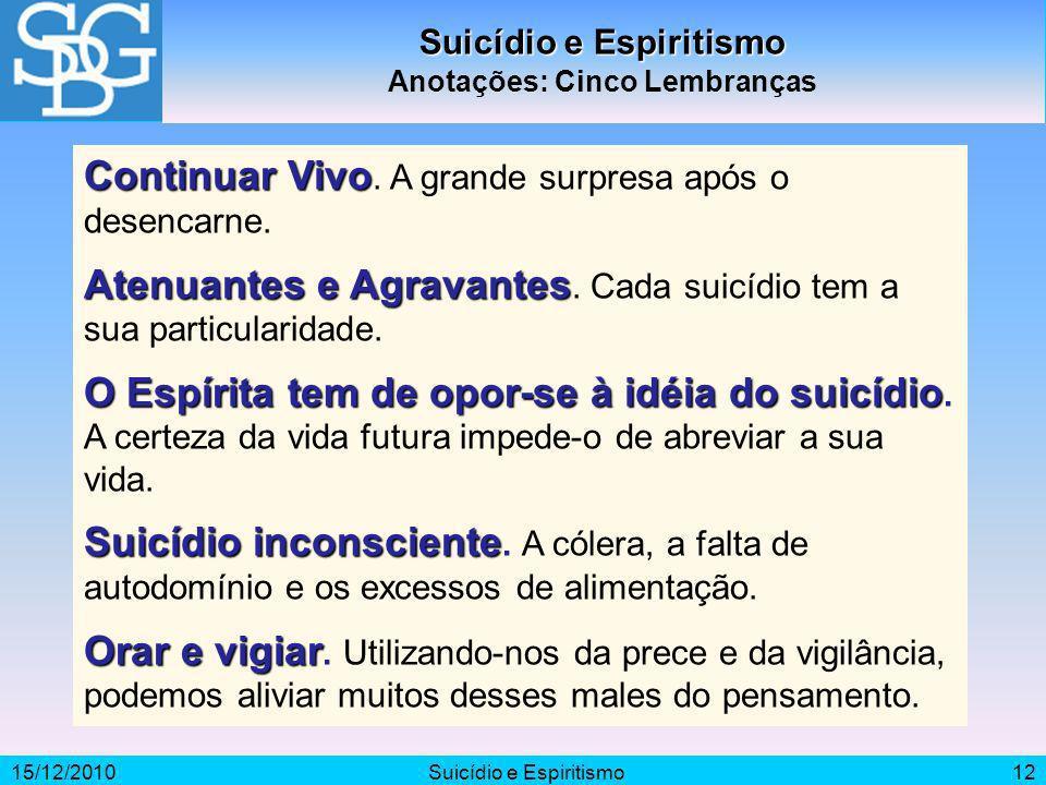 Suicídio e Espiritismo Anotações: Cinco Lembranças