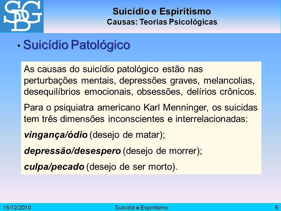 Suicídio e Espiritismo Causas: Teorias Psicológicas
