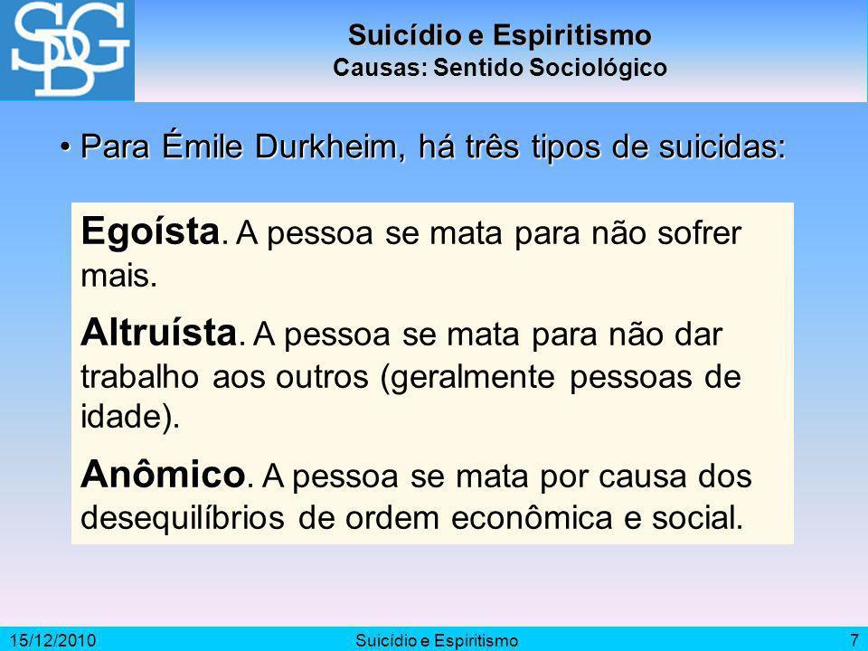 Suicídio e Espiritismo Causas: Sentido Sociológico