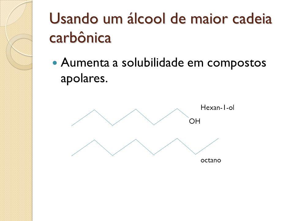 Usando um álcool de maior cadeia carbônica