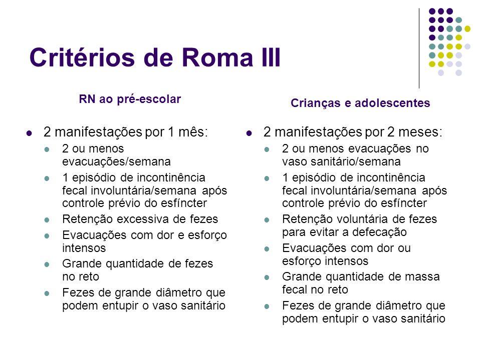 Critérios de Roma III 2 manifestações por 1 mês: