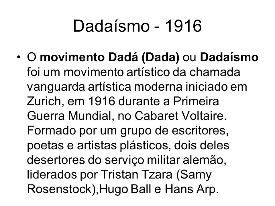 Dadaísmo - 1916
