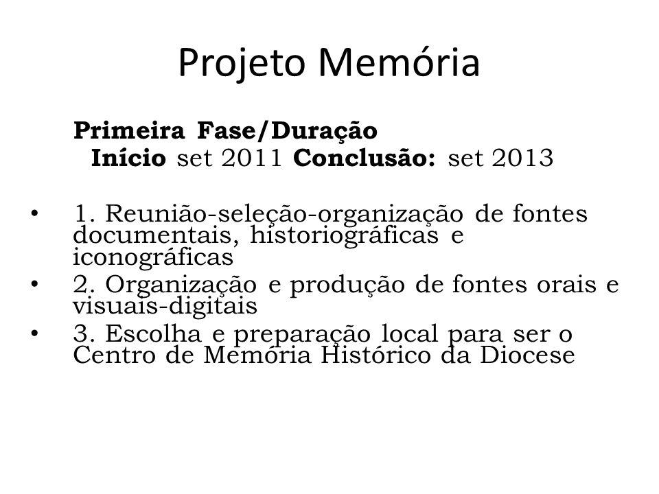 Projeto Memória Primeira Fase/Duração