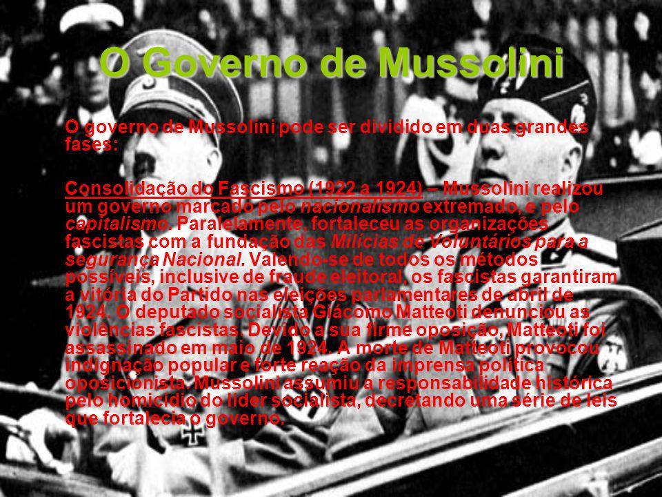 O Governo de Mussolini O governo de Mussolini pode ser dividido em duas grandes fases: