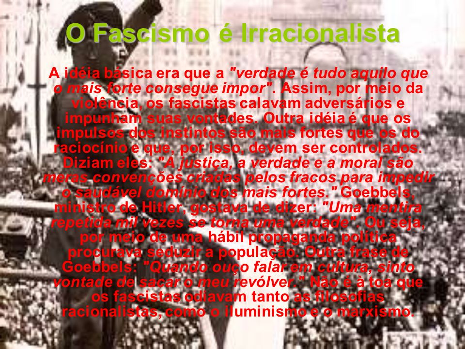 O Fascismo é Irracionalista