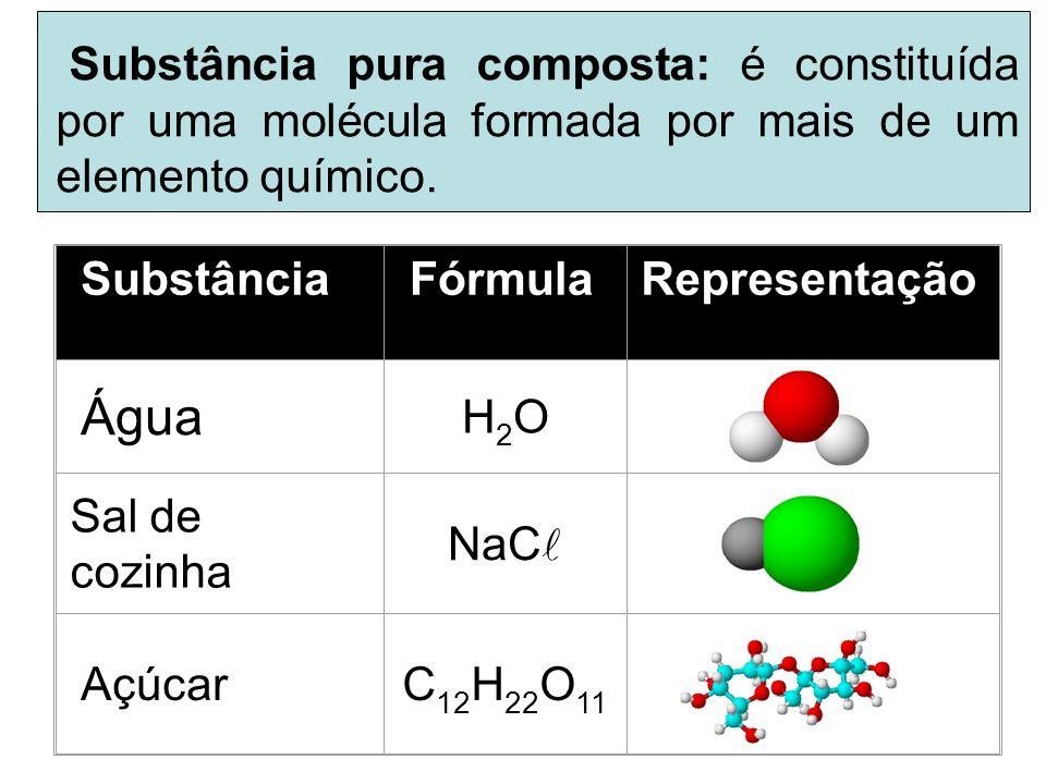 Substância pura composta: é constituída por uma molécula formada por mais de um elemento químico.