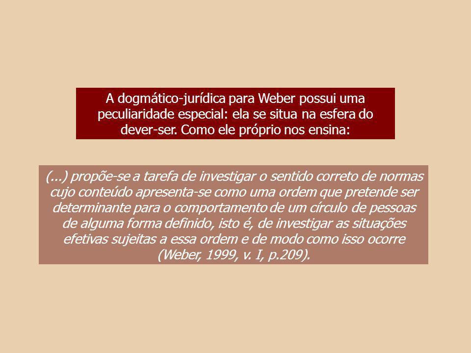 A dogmático-jurídica para Weber possui uma peculiaridade especial: ela se situa na esfera do dever-ser. Como ele próprio nos ensina: