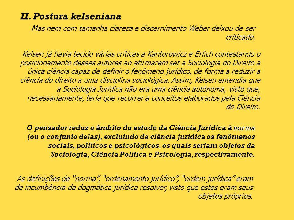 II. Postura kelsenianaMas nem com tamanha clareza e discernimento Weber deixou de ser criticado.