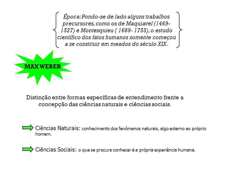Época: Pondo-se de lado alguns trabalhos precursores, como os de Maquiavel (1469-1527) e Montesquieu ( 1689- 1755), o estudo científico dos fatos humanos somente começou a se constituir em meados do século XIX.