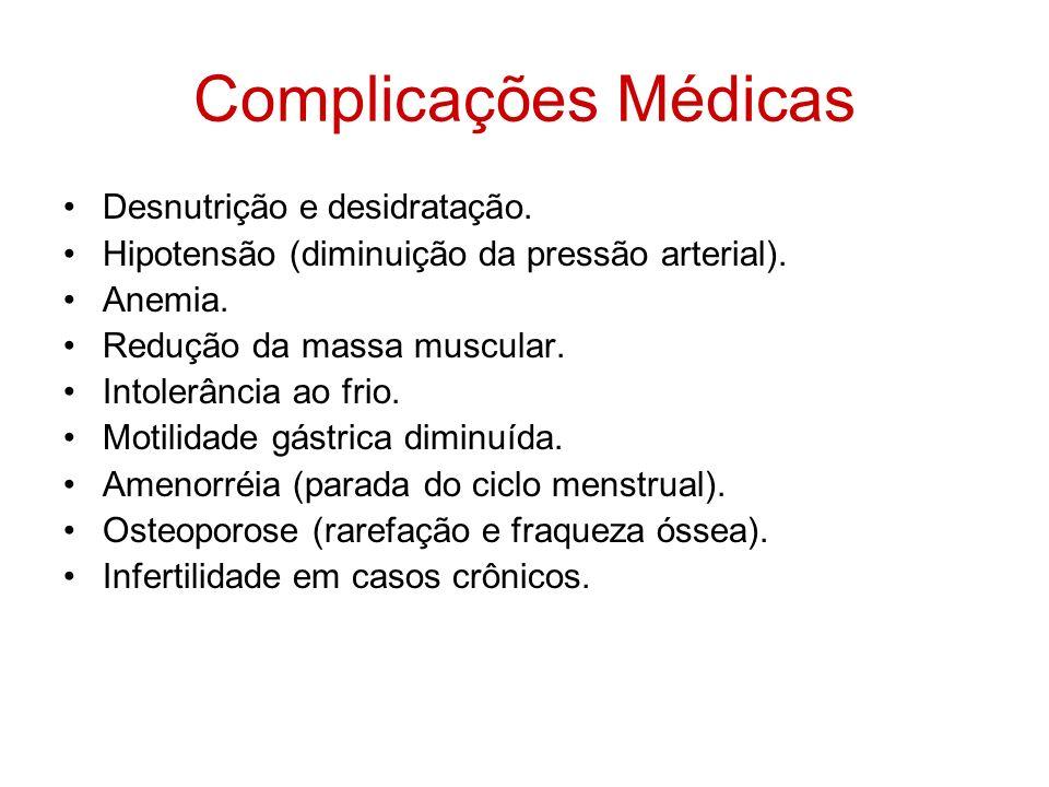 Complicações Médicas Desnutrição e desidratação.