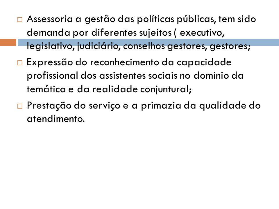 Assessoria a gestão das políticas públicas, tem sido demanda por diferentes sujeitos ( executivo, legislativo, judiciário, conselhos gestores, gestores;