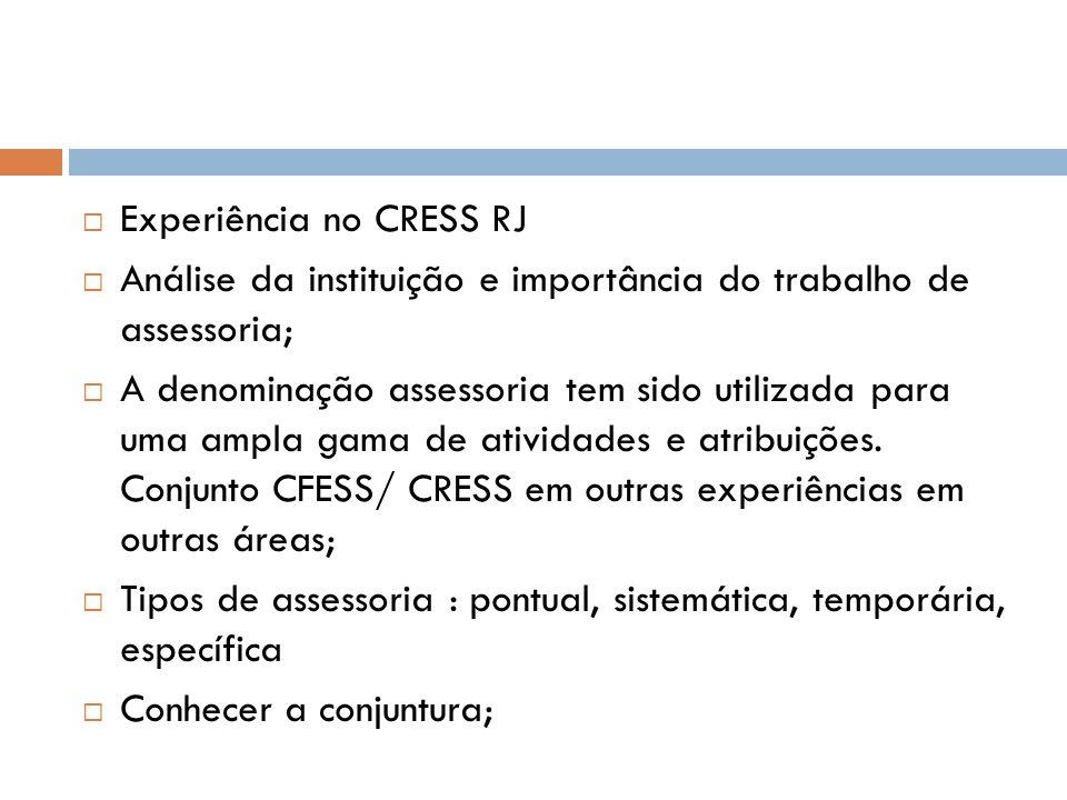 Experiência no CRESS RJ