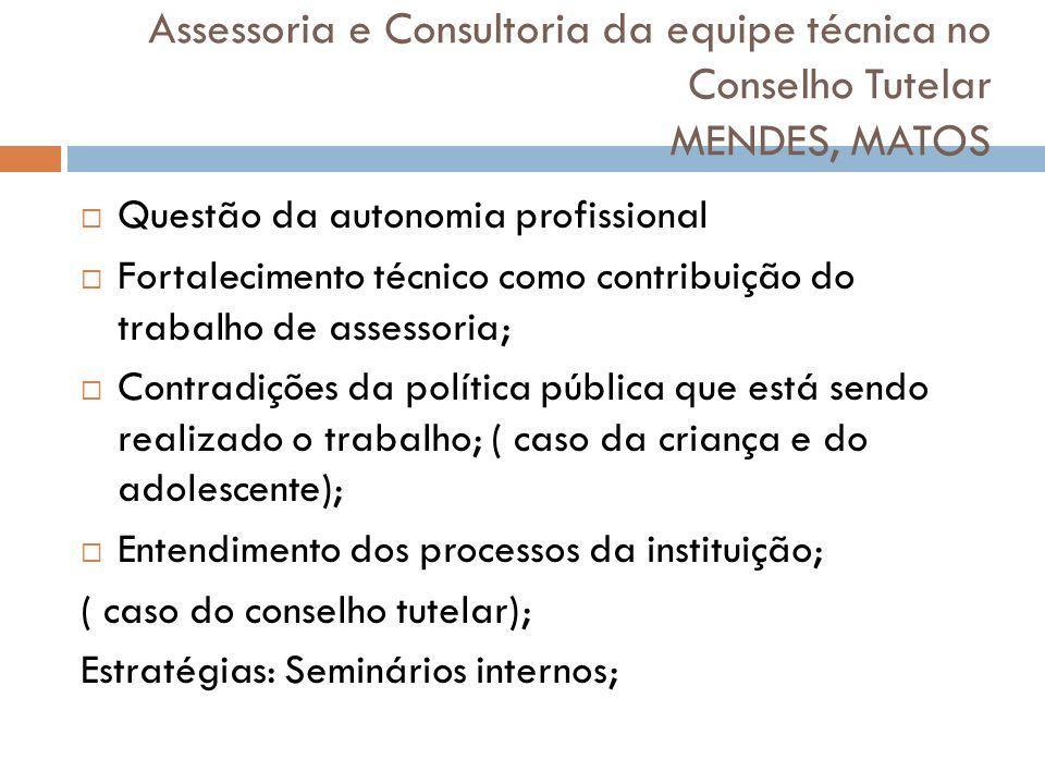 Assessoria e Consultoria da equipe técnica no Conselho Tutelar MENDES, MATOS