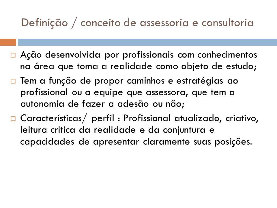 Definição / conceito de assessoria e consultoria