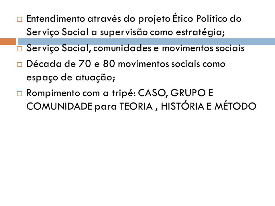 Entendimento através do projeto Ético Político do Serviço Social a supervisão como estratégia;