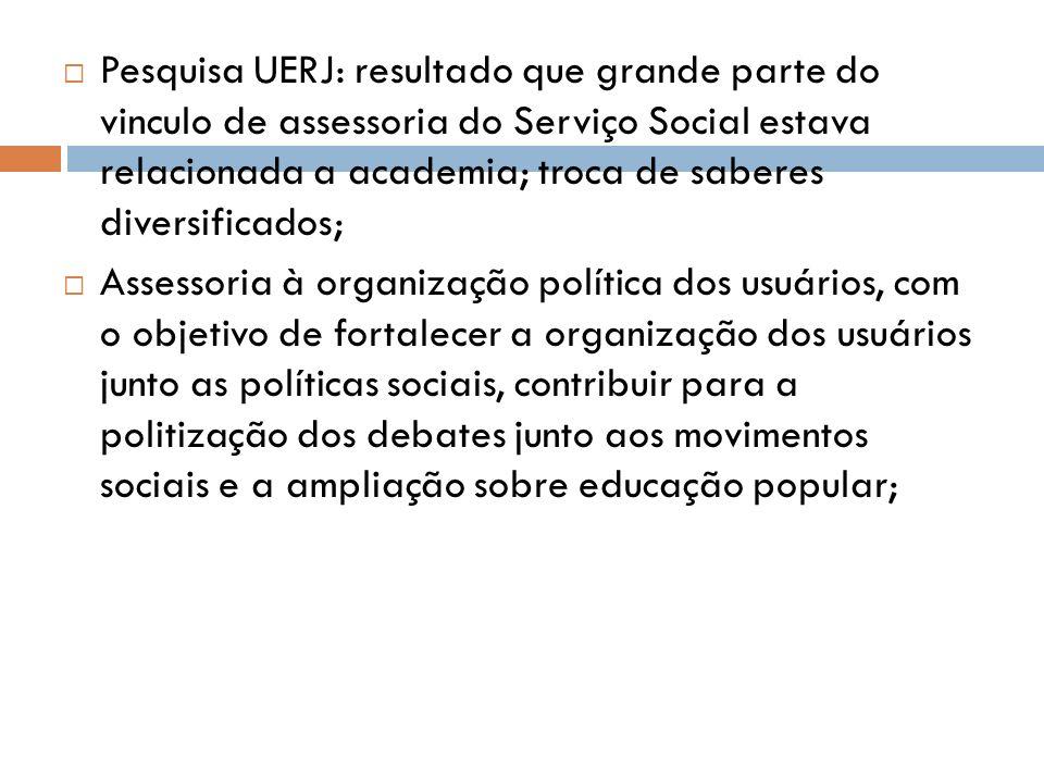 Pesquisa UERJ: resultado que grande parte do vinculo de assessoria do Serviço Social estava relacionada a academia; troca de saberes diversificados;