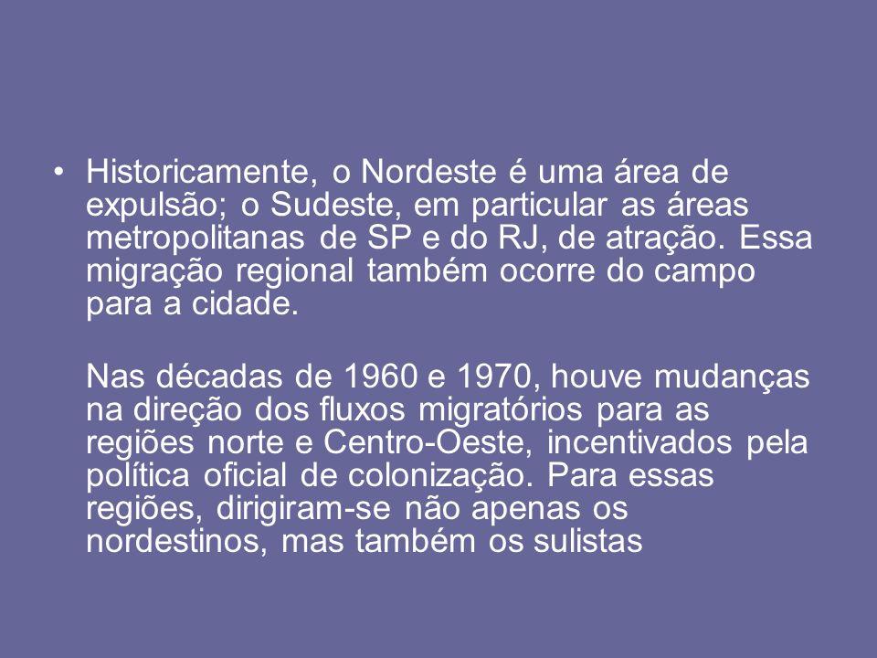 Historicamente, o Nordeste é uma área de expulsão; o Sudeste, em particular as áreas metropolitanas de SP e do RJ, de atração. Essa migração regional também ocorre do campo para a cidade.