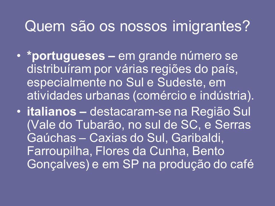 Quem são os nossos imigrantes