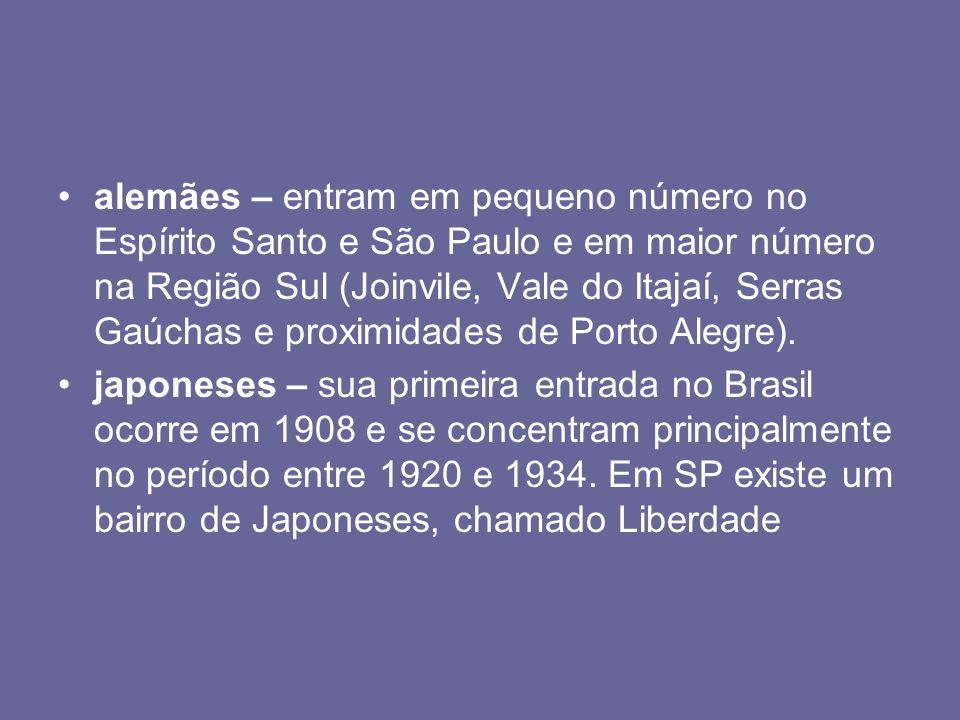 alemães – entram em pequeno número no Espírito Santo e São Paulo e em maior número na Região Sul (Joinvile, Vale do Itajaí, Serras Gaúchas e proximidades de Porto Alegre).