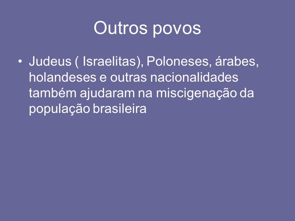 Outros povosJudeus ( Israelitas), Poloneses, árabes, holandeses e outras nacionalidades também ajudaram na miscigenação da população brasileira.