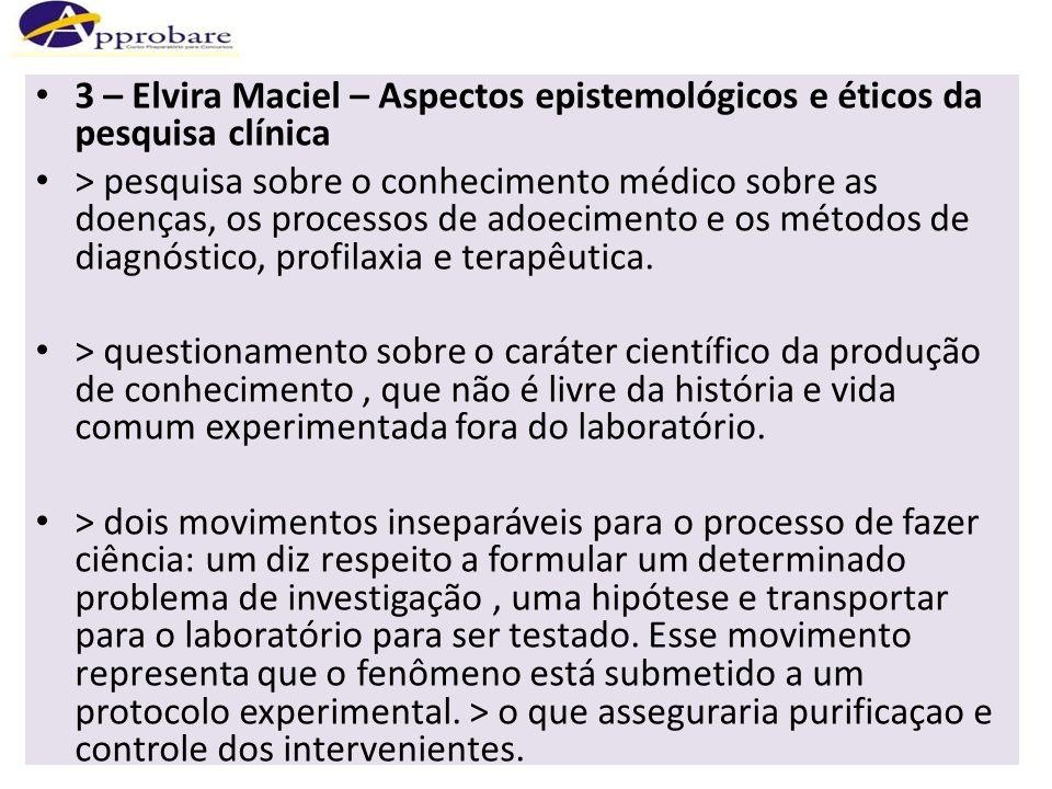 3 – Elvira Maciel – Aspectos epistemológicos e éticos da pesquisa clínica