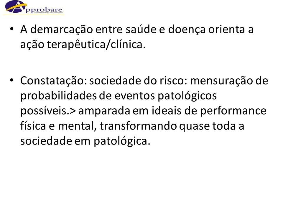 A demarcação entre saúde e doença orienta a ação terapêutica/clínica.