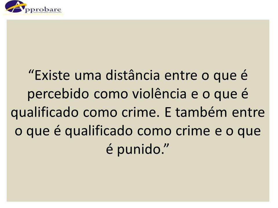 Existe uma distância entre o que é percebido como violência e o que é qualificado como crime.