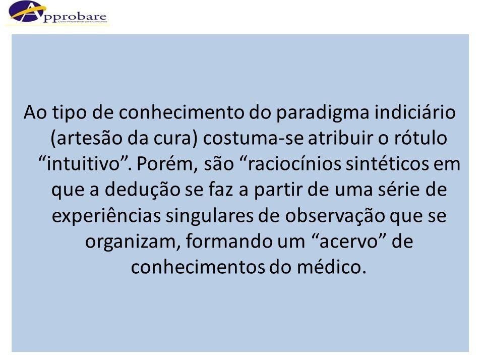 Ao tipo de conhecimento do paradigma indiciário (artesão da cura) costuma-se atribuir o rótulo intuitivo .