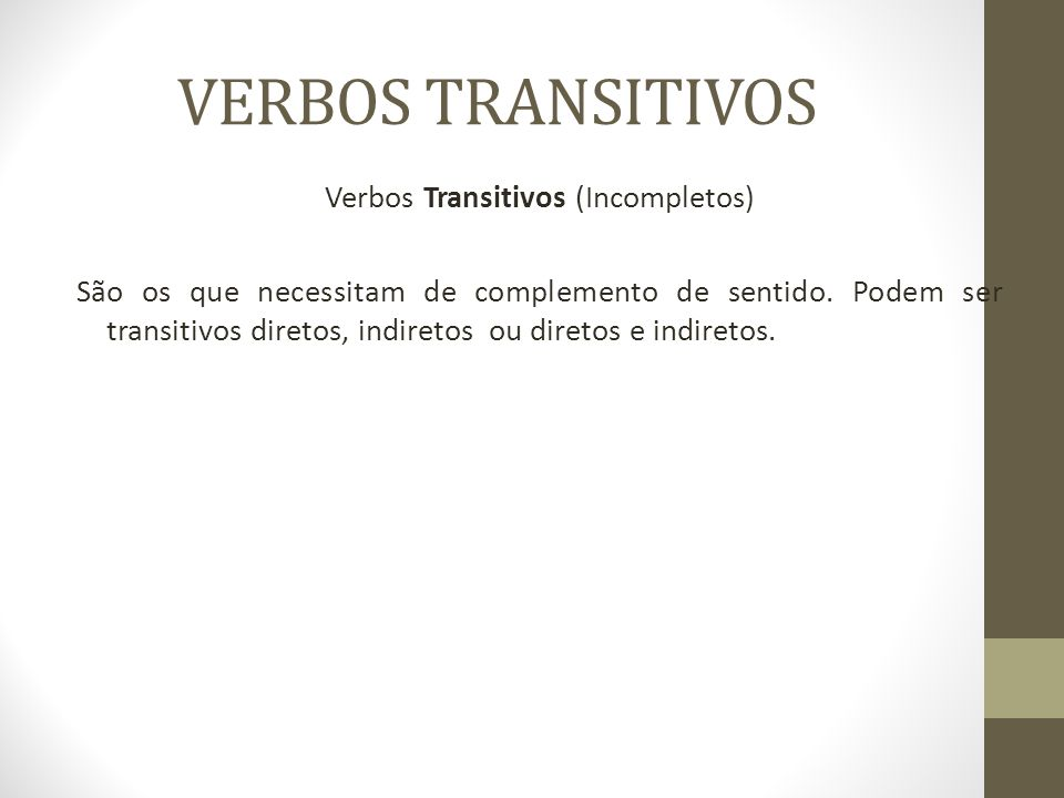 VERBOS TRANSITIVOS