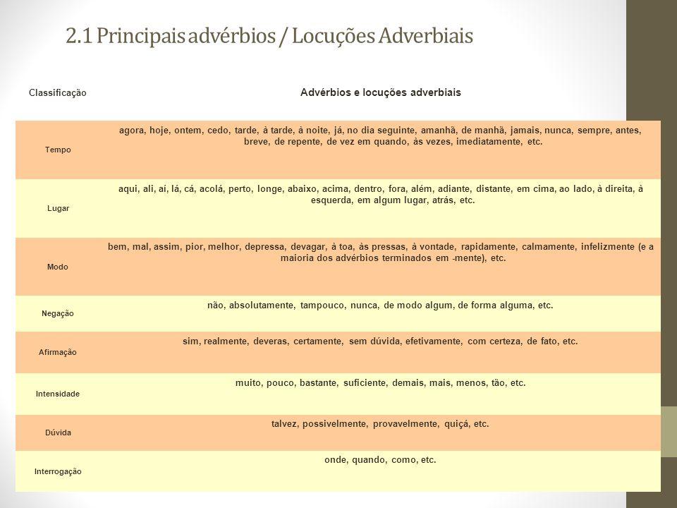 2.1 Principais advérbios / Locuções Adverbiais
