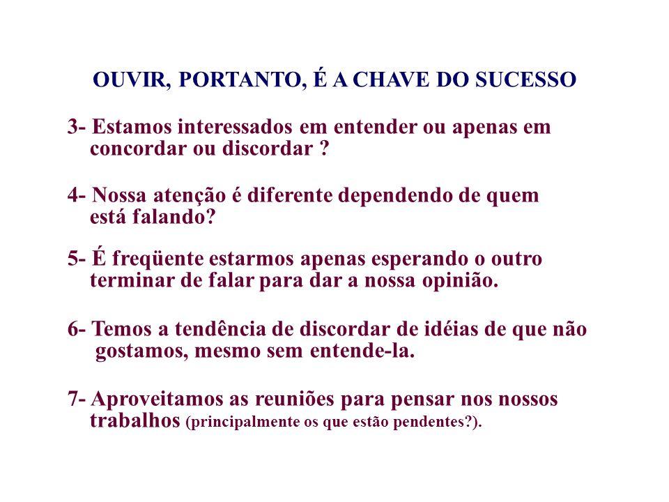 OUVIR, PORTANTO, É A CHAVE DO SUCESSO