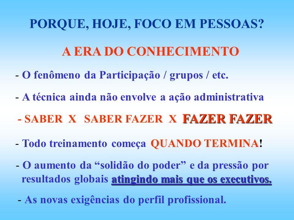 PORQUE, HOJE, FOCO EM PESSOAS