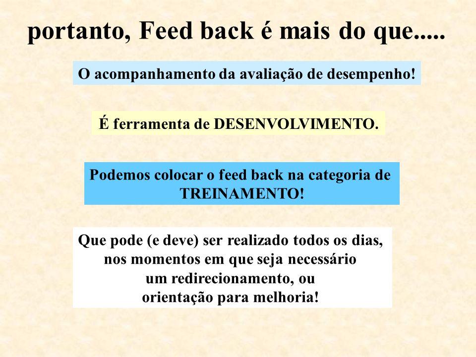 portanto, Feed back é mais do que.....