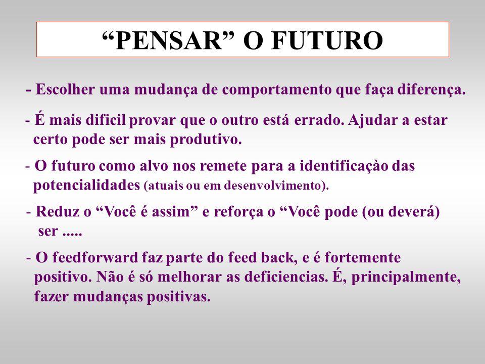 PENSAR O FUTURO- Escolher uma mudança de comportamento que faça diferença. É mais dificil provar que o outro está errado. Ajudar a estar.