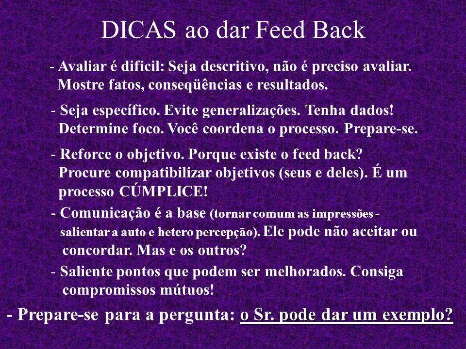 DICAS ao dar Feed Back Avaliar é dificil: Seja descritivo, não é preciso avaliar. Mostre fatos, conseqüências e resultados.