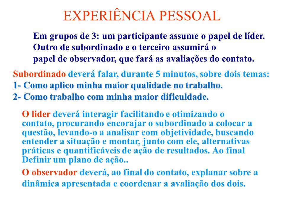 EXPERIÊNCIA PESSOAL Em grupos de 3: um participante assume o papel de líder. Outro de subordinado e o terceiro assumirá o.